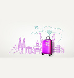 photoreal violet suitcase with different travel vector image