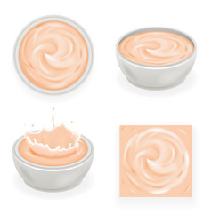 Pink cream curl splash drops product realistic vector