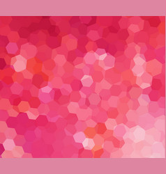 pink mosaic background with hexagon pattern vector image