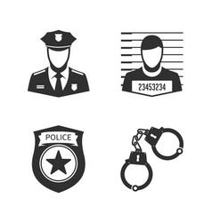 Police icon set vector