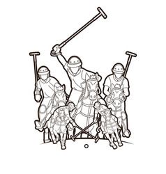polo horses players sport cartoon graphic vector image