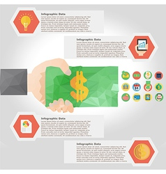 polygon infographic element with flat color for vector image