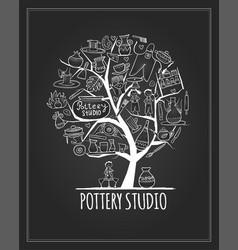 Pottery studio banner art tree for your design vector