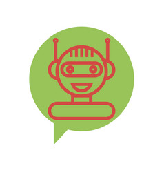 Red line chat bot icon on speech bubble vector
