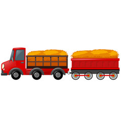 Red truck loaded with hay vector
