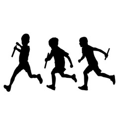 Relay race set running boys silhouettes vector