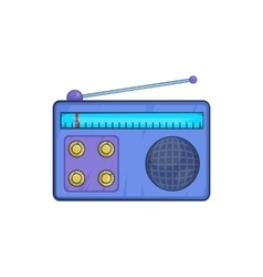 Retro radio receiver icon in cartoon style vector