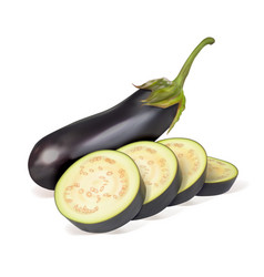 Ripe eggplant whole vegetables and sliced into ri vector