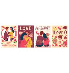 Romantic couple posters cartoon valentines day vector