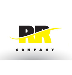Rr r black and yellow letter logo with swoosh vector