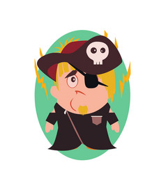 Sad and unhappy pirate - funny avatar of little vector