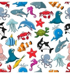 Sea fish and ocean animals cartoon pattern vector