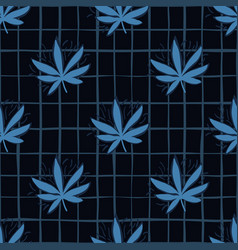 seamless pattern with blue hemp leaves navy vector image