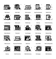 Seo and web solid icons pack vector