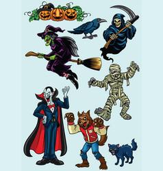 set halloween character vector image