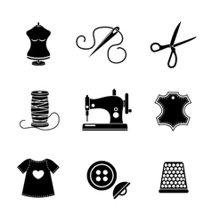 Set of sewing icons - machine scissors thread vector image