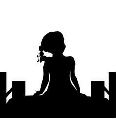 silhouette girl sit bridge dreams vector image