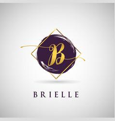 Simple elegance initial letter b gold logo type vector