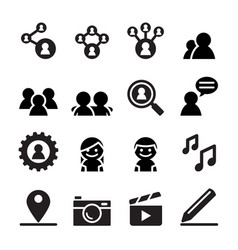 social network social media icon set vector image
