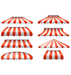 Striped red and white sunshade awning - cafe and vector