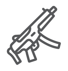 Submachine gun line icon army and military vector