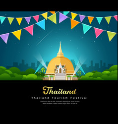 Thailand tourist landmark worshipers vector