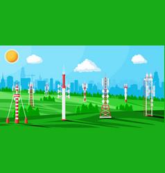transmission cellular tower antenna landscape vector image