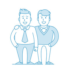 Two friends or colleagues are standing together vector