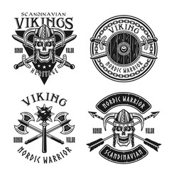 viking or norse warriors set of emblems vector image