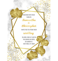 Wedding luxury invitation with orchids vector