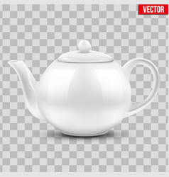 White ceramic teapot vector