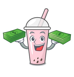 With money bag raspberry bubble tea character vector