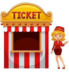Woman selling ticket at the booth vector
