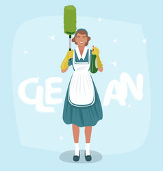 Woman with sprayer and dust brush vector