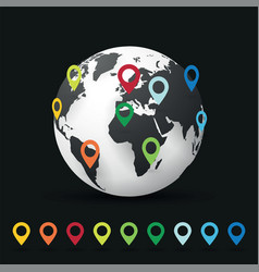 world map map pin pointer location vector image