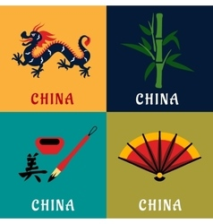 China culture and tradition flat icons vector image vector image