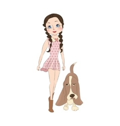 Cute little girl with dog vector image