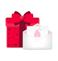 greeting card in envelope and red gift box vector image