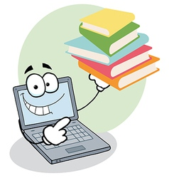 Laptop Guy Holding Books vector image