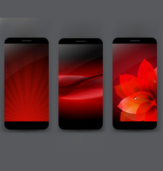 mobile smartphones template with flower and line vector image vector image