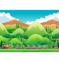 Train ride through the green field vector image vector image