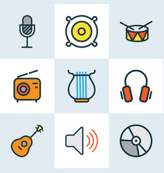 Audio colored outlines set collection of harp vector