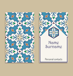 business card template portuguese moroccan azulejo vector image