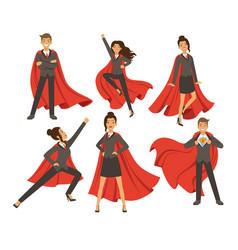 businesswoman in action poses female superhero vector image