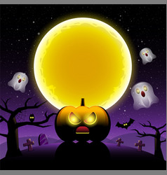 happy halloween scary night backgrounds with vector image