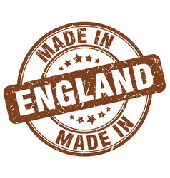 made in england brown grunge round stamp vector image vector image