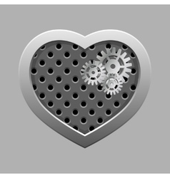 Metal heart with silver gears on the dark vector