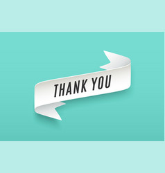 paper ribbon with text thank you vector image vector image