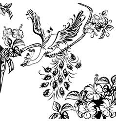 peacock tree branch vector image