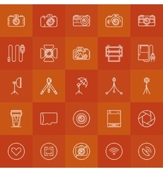 Photography linear icons set vector image